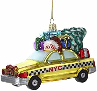 Kurt Adler NYC Checker Taxi with Tree Glass Ornament, 5.35-Inch