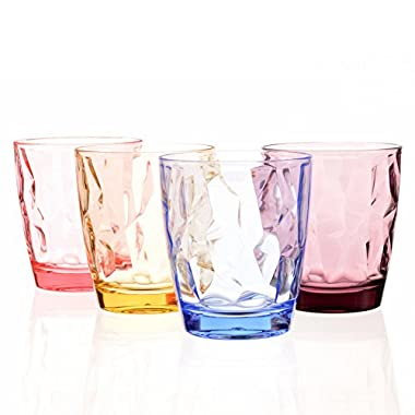 Acrylic Drinking Glasses Set Colored Plastic Tumblers Unbreakable Small Water Drinking Cups for Kids Cute Juice Glassware Stackable Camping Picnic Beach Party Drinkware BPA Free Dishwasher Safe