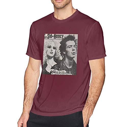 Camiseta Corta de Algod¨n SID-Nancy para Hombre, Borgo?a XXXXX-Grande