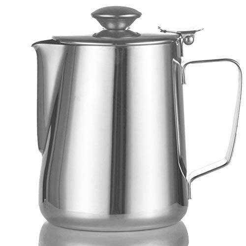 Tebery Milchkännchen Aufschäumkännchen Kaffeekännchen Kännchen für Kaffee aus Edelstahl mit Deckel für Milch Tee Kaffee - 350ml