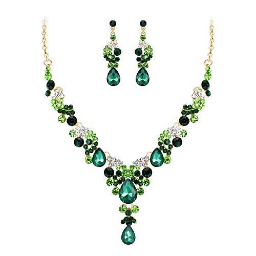 EVER FAITH Juegos de Joyas para Mujer Cristal Austríaco Boda Flor Oleada Verde Tono Dorado Collares Pendientes Conjunto