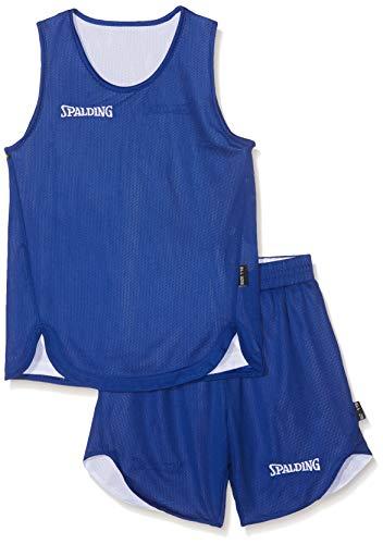 Spalding Doubleface Kids Set, Conjunto reversible camiseta y pantalones de baloncesto para Unisex-Niños, Azul/Blanco (Royal/White), XS(152)