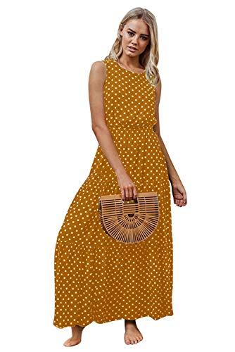 Landove Donna Vestito a Pois Vintage Lungo swing Abito Stilo Impero Vita Alta Caftano Boho Chic...