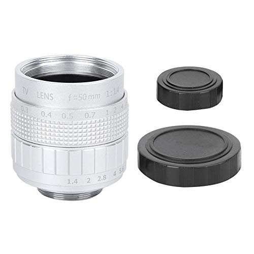 Goshyda Lente de cámara con Montura C de 50 mm F1.4, Metal + Material de Vidrio óptico Lente de cámara con Revestimiento de película Multicapa MC para cámara sin Espejo(Plata)