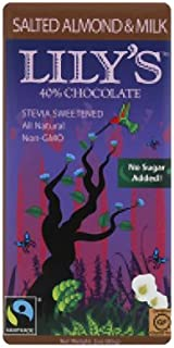 Salted Almond & Milk Chocolate Bar by Lily's Sweets | Stevia Sweetened, No Added Sugar, Low-Carb, Keto Friendly | 40% Cacao | Fair Trade, Gluten-Free & Non-GMO | 3 ounce, 12-Pack