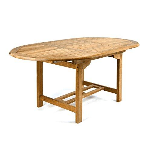 DIVERO GL05520 Ovaler ausziehbarer Gartentisch Esstisch Balkontisch Holz Teak Tisch für Terrasse Balkon Wintergarten witterungsbeständig behandelt massiv 120/170 cm natur