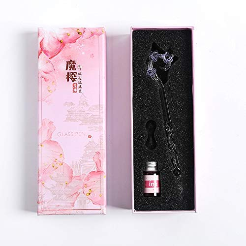 DHTOMC Pluma estilográfica de alta gama, pluma de cristal con diseño de flores, bolígrafo de regalo para estudiantes de cristal y pluma estilográfica LCMUS (color: morado, tamaño: gratis)