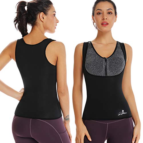 Joyshaper Neoprene Slimming Sweat Vest for Weight Loss Women Waist Trainer Fat Burner Top Thermo Tummy Control Body Shaper (Schwarz, Medium)