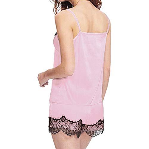 AOGOTO Frauen Nachtwäsche Sleeveless Strap Nachtwäsche Lace Trim Satin Cami Top Pyjama Sets