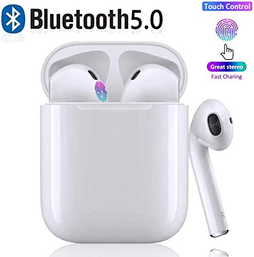 Bluetooth 5.0 Wireless Earbuds Headsets Bluetooth Headphones 【24Hrs Charging Case】 3D Stereo IPX6 Waterproof Pop-ups Auto Pairing Fast Charging for Earphone Android/iPhone/Airpods/Samsung