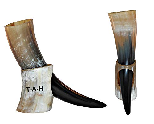 Taza de cuerno con soporte, hecha a mano, estilo vikingo