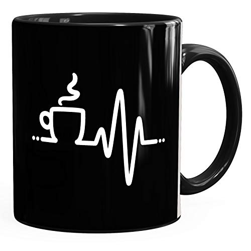Tasse Heartbeat Kaffee Herz glänzend Kaffeetasse Teetasse Keramiktasse MoonWorks® schwarz unisize