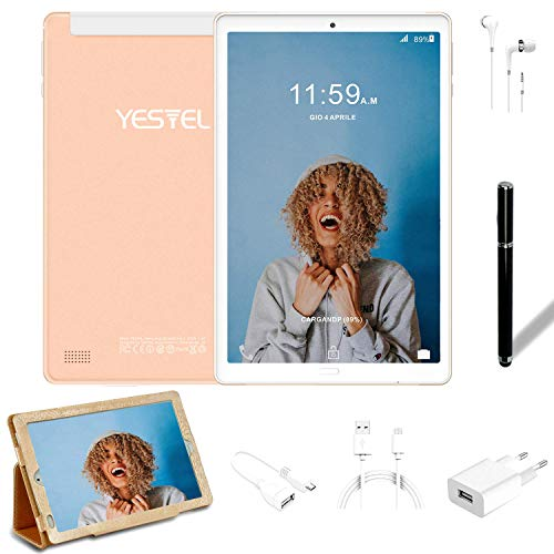 Tablet 10.1 Pulgadas YESTEL Android 8.1 Tablets con 3GB RAM & 32GB ROM y 4G LTE Dual SIM Call, 5.0 MP + 8.0 MP HD la Cámara y 8000mAH-Dorado………
