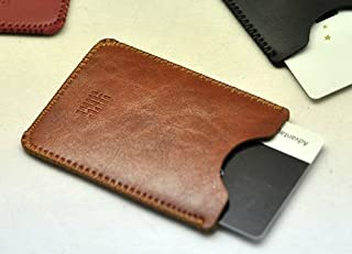 Card holder Pocket Business Name Credit ID Card Case New Luxury Pouch Slim Sleeve business card wallet (Brown)