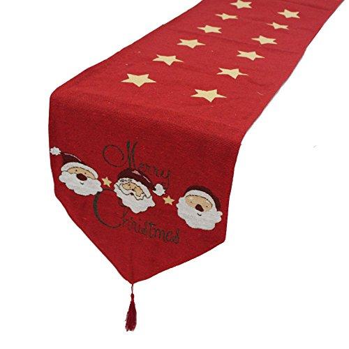 Axgo - Camino de Mesa Bordado con diseño de muñeco de Nieve para Navidad, Cena, Fiesta, decoración, 35 x 180 cm, Estrella