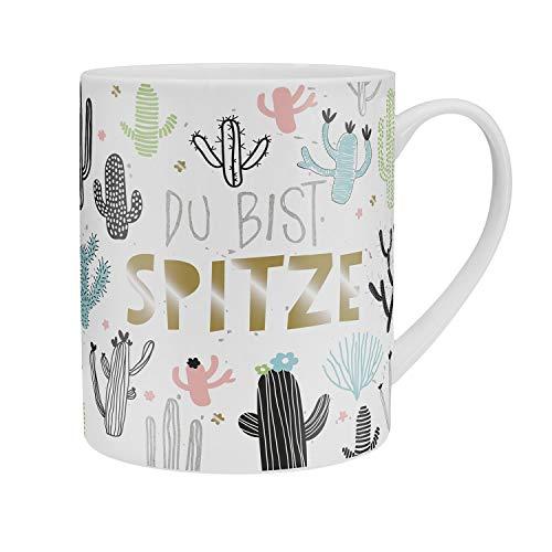 Happy Life 46232 XL Jumbo-Tasse mit Kaktus und Spruch Du bist spitze, Porzellan-Tasse mit Geschenk-Banderole
