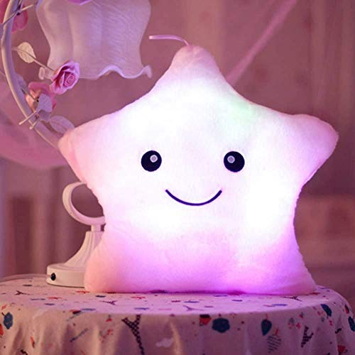 Cojín Luminosas LED Estrellas Peluche Almohadas Muñeca, Almohada con Luces Almohada Felpa Luminoso y Suave Buen Regalo para Niños Decoración de Sofá Salón Cama de Hogar, Type E