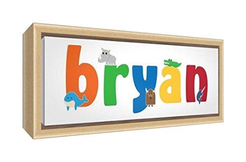 Little Helper LHV-BRYAN-1542-FCNAT-15IT Stampa su Tela Incorniciata Legno Naturale, Disegno Personalizzabile con Nome da Ragazzi Bryan, Multicolore, 19 x 46 x 3 cm
