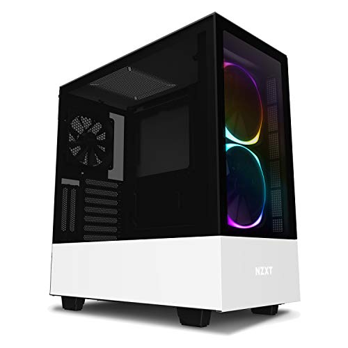 NZXT H510 Elite 前面+側面ガラスパネル RGB LED発光&ファン制御機能搭載 [ White & Black ] CA-H510E-W1