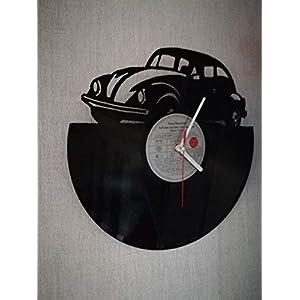 Wanduhr aus Vinyl Schallplattenuhr mit Käfer Motiv upcycling design Uhr Wand-deko vintage-Uhr Wand-Dekoration retro-Uhr