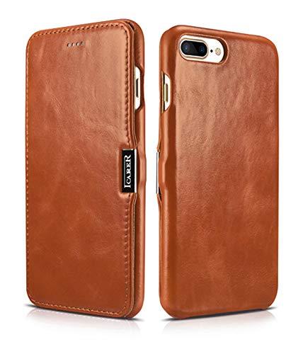 ICARER Hülle passend für Apple iPhone 8 Plus & iPhone 7 Plus (5.5 Zoll), Handyhülle mit echtem Leder, Hülle, Schutz-Hülle klappbar, dünne Handytasche, Slim Cover, Vintage Erscheinungsbild, Braun
