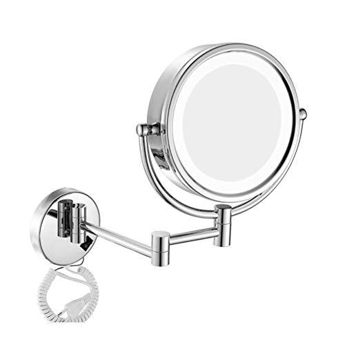 Miroir mural double face rétractable de maquillage 8 pouces 3 fois grossissement Miroir mural de 360 degrés miroir maison hôtel, Silver