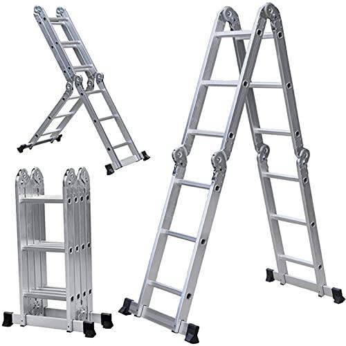 WXYI Escaleras Plegables Multiusos, (4 * 2 escalones) Escalera telescópica de Aluminio extensión telescópica Plegable pequeña Escalera Gigante 330 Libras de Capacidad