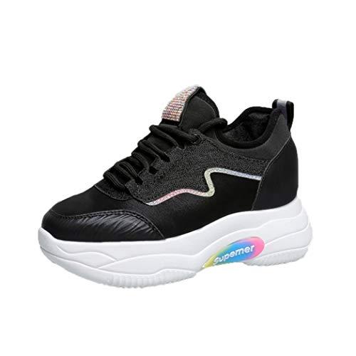 Dames Verhoogde Interne Sneakers Lente Mode Mesh Sport Loopschoenen Casual Veterschoen Afslanken Zwart Plateau Wedges Trainers