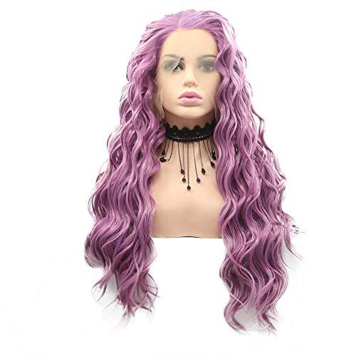 Perruque synthétique pour femme - Couleur chaude - Avec dentelle frontale - Pour cosplay et fête - Cheveux longs bouclés