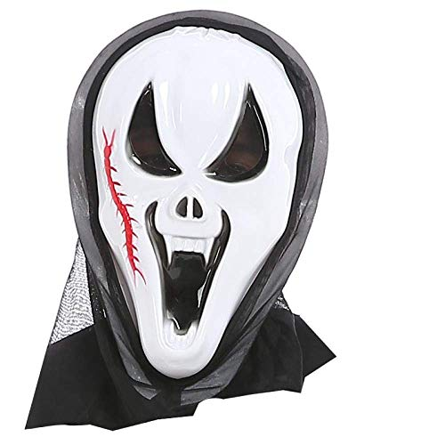 jinfudi Máscara De Halloween Máscara De Gritos De Terror Fantasma Masculino Maquillaje Fantasma Femenino Accesorios para Sentadillas, Máscara De Calavera