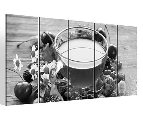 Leinwandbilder 5 teilig XXL 200x100cm schwarz weiß Tee Tasse Früchte Früchtetee Obst Beeren Küche Druck auf Leinwand Bild 9BM1508