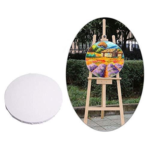 Kunstgegenstände JRC 2 PCS Weiß Platte Runde Leinwand Brett aus Holz Gemälderahmen, Größe: 40 cm Malerei Set