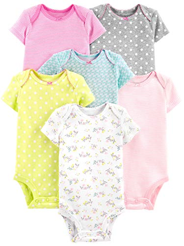 Simple Joys by Carter's Girls' 6-Pack Short-Sleeve Bodysuit, gray/pink/lime/blue, 0-3 Months
