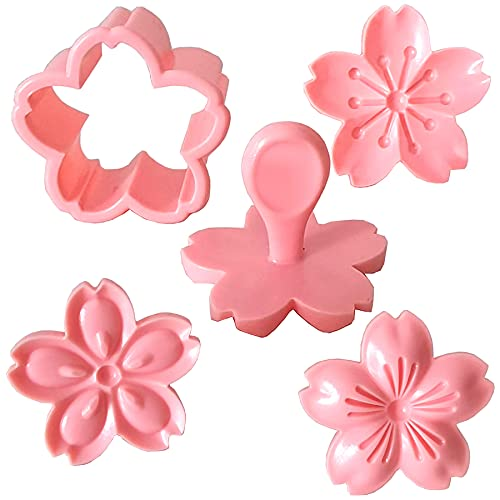 Goeielewe Pastry/Cookie/Fondant Stamper, 2-Inch Press Cookies Mold with 4 Stamps Pink Cherry Blossom Shape Flower Hand Pressure Pastry Tool Fondant Cutters Set for Baking