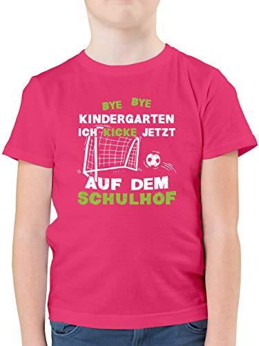 Einschulung und Schulanfang - Bye Bye Kindergarten Einschulung Fußball - 128 (7/8 Jahre) - Fuchsia - Bye Bye Kindergarten - F130K - Kinder Tshirts und T-Shirt für Jungen