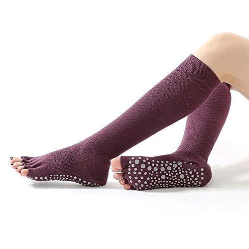 CHENC Yoga Antideslizante Zapatilla Calcetines de Cinco Dedos Aptitud Media de algodón Calcetines de Deporte (Color : D)