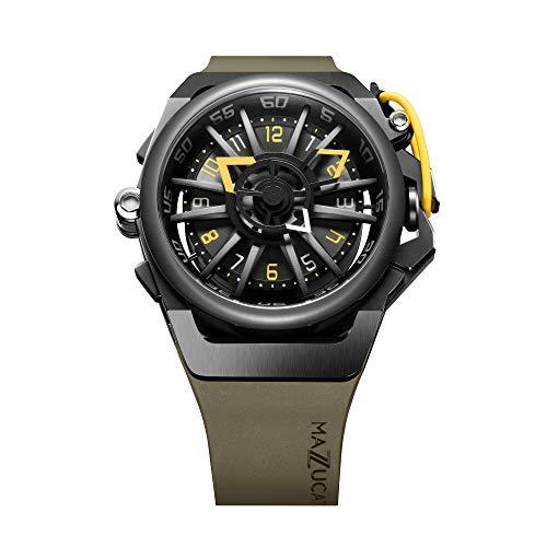 Mazzucato velg mannen omkeerbare automatische en chronograaf horloge met FKM rubberen band Khaki 04-GN136