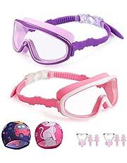 Kungber Kinderzwembril voor kinderen, duikbril, zwembril, anti-condens-uv-bescherming, zachte siliconen lekbeschermingsbril met badkap, neusklemmen, oordoppen, leeftijdsgroep 3-15