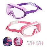 Kungber Occhialini da Nuoto Bambini,Confezione da 2,Anti-UV Protezione Anti-Perdita Confor...