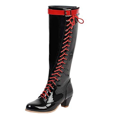 MISSUIT Damen Kitten Heels Kniehoch Stiefel mit Schnürung und Schnallen Reißverschluss Hinten Lackstiefel Kleiner Absatz 5cm Schuhe(Schwarz,43)