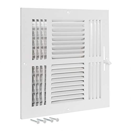 EZ-FLO 61619 Four-Way Sidewall/Ceiling Register, 10' x 10', White