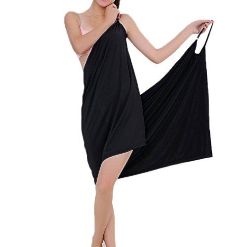 Minetom Femme Été Sexy Col V Sans manche Wearable Séchage Douce Peignoir de Bain Serviette Bathrobe Spa Sauna Paréo Plage Noir One Size