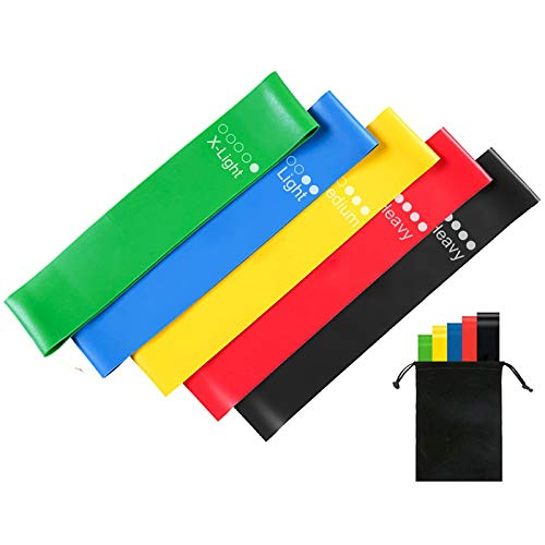 HOSE PRO Resistance BandsSet of 5 Skin Friendly Resistance Fitness Exercise Loop Bands with 5 Different Resistance Levels Ideal for HomeGymYogaPilatesphysiotherapy GuideandCarryBagIncluded