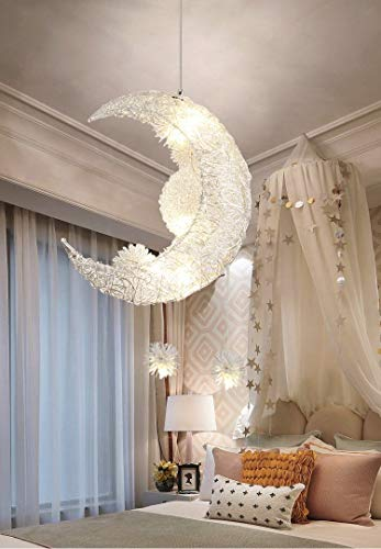 Creative Moon and Stars Fairy LED Lampada a sospensione Lampadario a soffitto Plafoniera per bambini Decorazione camera da letto (White Light)
