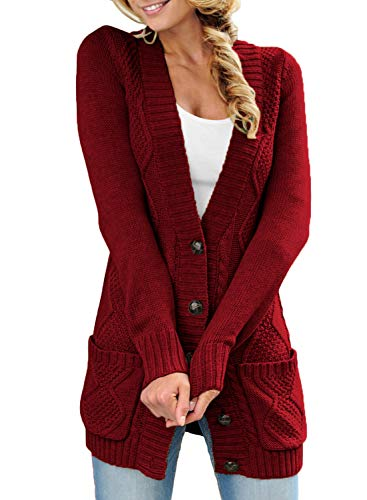 Happy Sailed Damen Langarm Strickjacke Cardigan Strickcardigan mit Knopf ,Rot,M