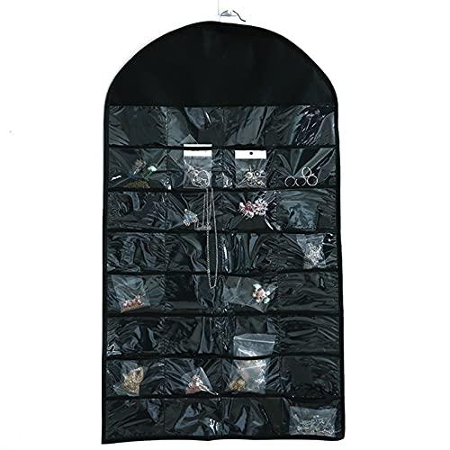 MZAW Hanging Organizer 32 Pocket Hanging Wardrobe Earrings Ring Necklace Bracelet Display Stand Hanging Bag Storage Space-Saving Clothing Storage Bag (Color : Black, Size : 21 Cells+Up)