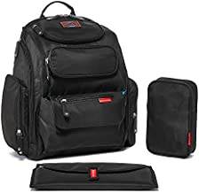 Bag Nation Diaper Bag Backpack: Large Capacity Unisex Baby Bag with Stroller Straps, Changing Pad and Sundry Bag, Holds All Your Baby's Essentials (Black)