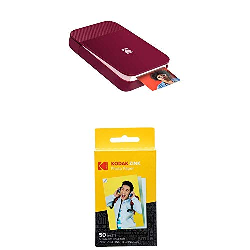 Kodak Smile Fotodrucker für Smartphone (IOS & Android) - Tintenloser Sofortdrucker, Bluetooth, 5 x 7,6 cm Ausdrucke, Integrierter Akku - Rot, 50-Pack-Papierbündel