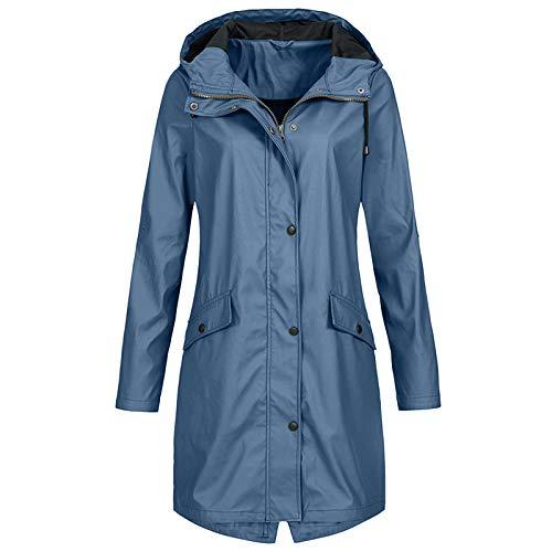 Lomelomme Regenmantel Damen Lang Regenjacke Leichte Wasserdichte Jacken Mantel mit Kapuze Langarm Winddicht Zip Up Regenparka Große Größen Regenjacke