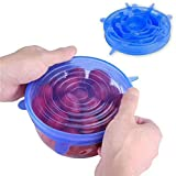 UKKD Fiambrera Cubierta De Silicona Elástica De 6 Piezas A Múltiples Bolsas De Embalaje Para Alimentos Sello Recto De Aire Mantenga La Cubierta De Empaque De Alimentos Frescos Cubierta Expandible,Azul